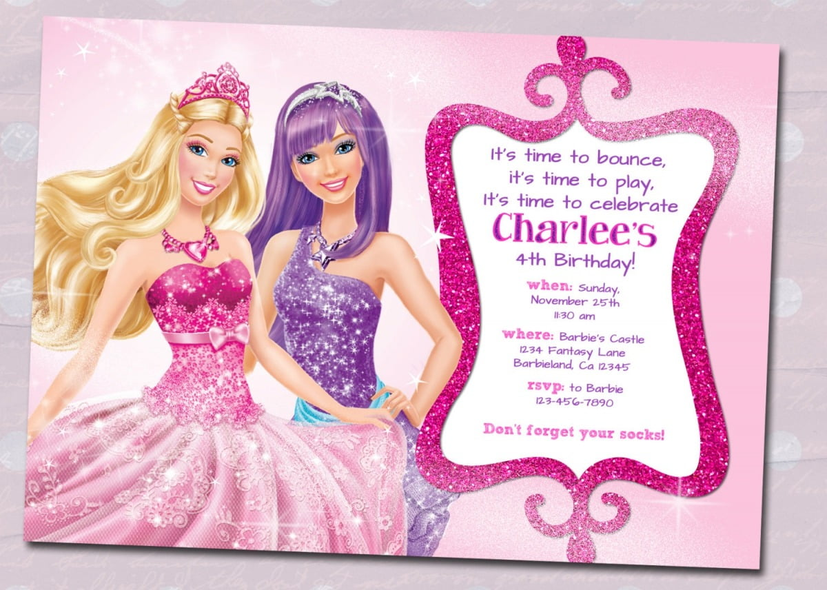 Barbie Birthday Invitations Barbie Birthday Invitations With The