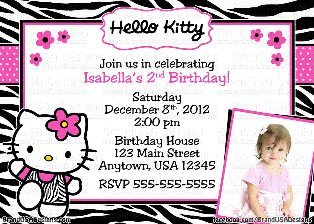 Custom Hello Kitty Birthday Party Invitations