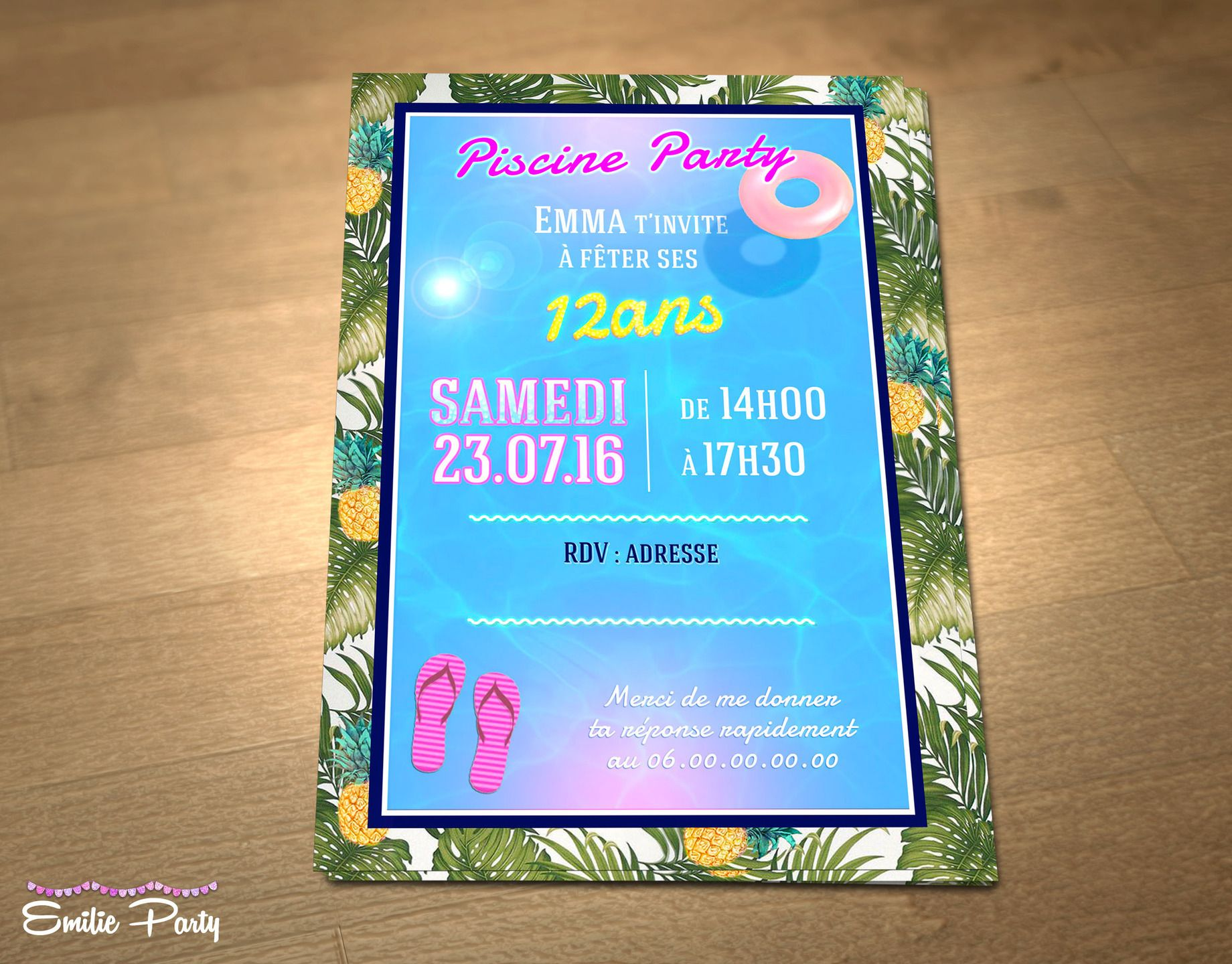 Bien Carte Invitation Anniversaire Theme Piscine 19 Sur Carte D