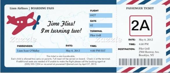 Boarding Pass Birthday Invitation Template Free