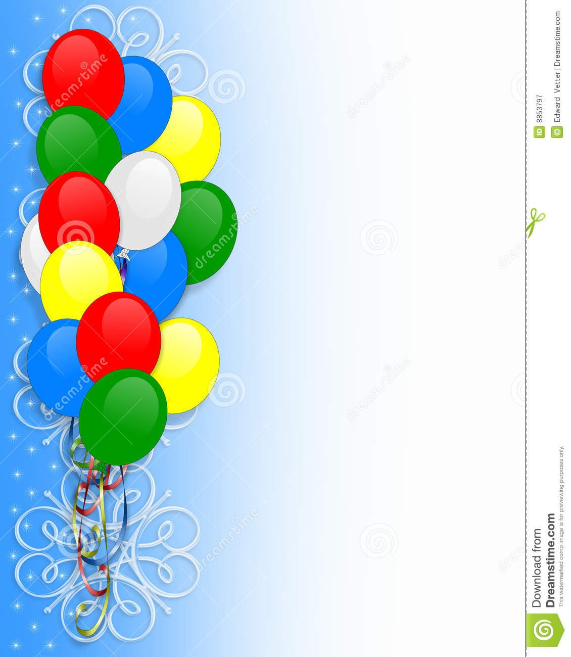 Birthday Invitation Balloons Border Stock Illustration