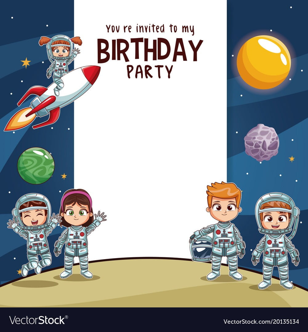 Birthday Kids Invitation Party Card Royalty Free Vector