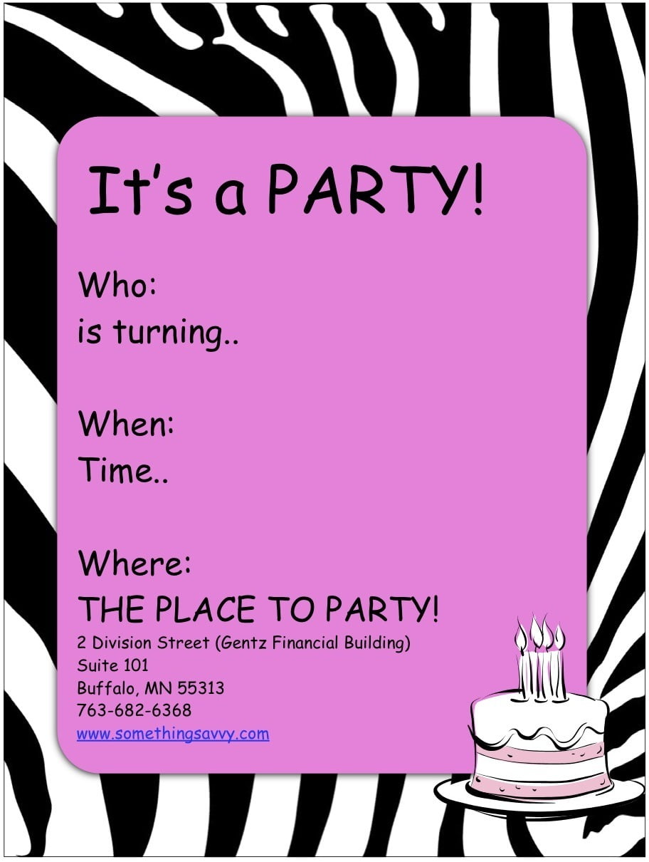 Birthday Party Invitations For Girls Cute Printable Birthday