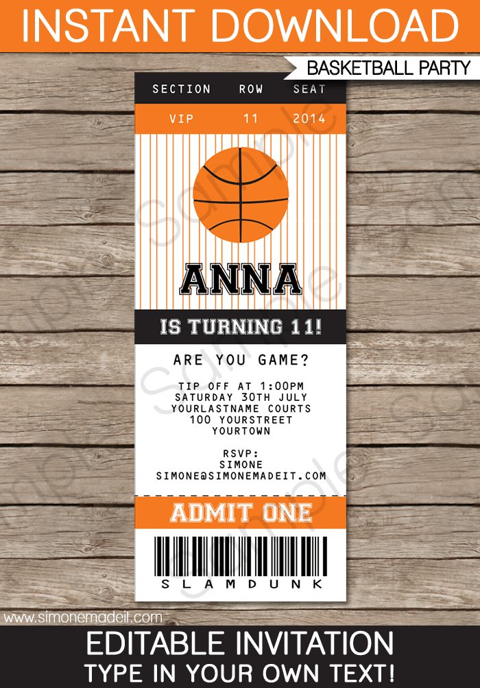 Ideas For Blank Basketball Ticket Template Free In Form