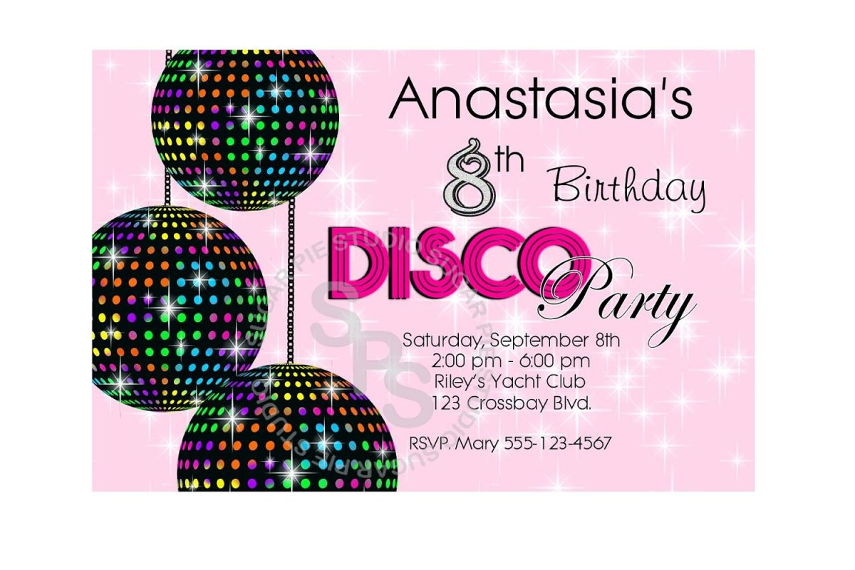 Kids Free Printable Party Invites Disco Party