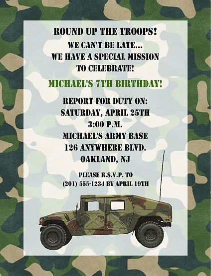 Camouflageinvite Perfect Military Party Invitations