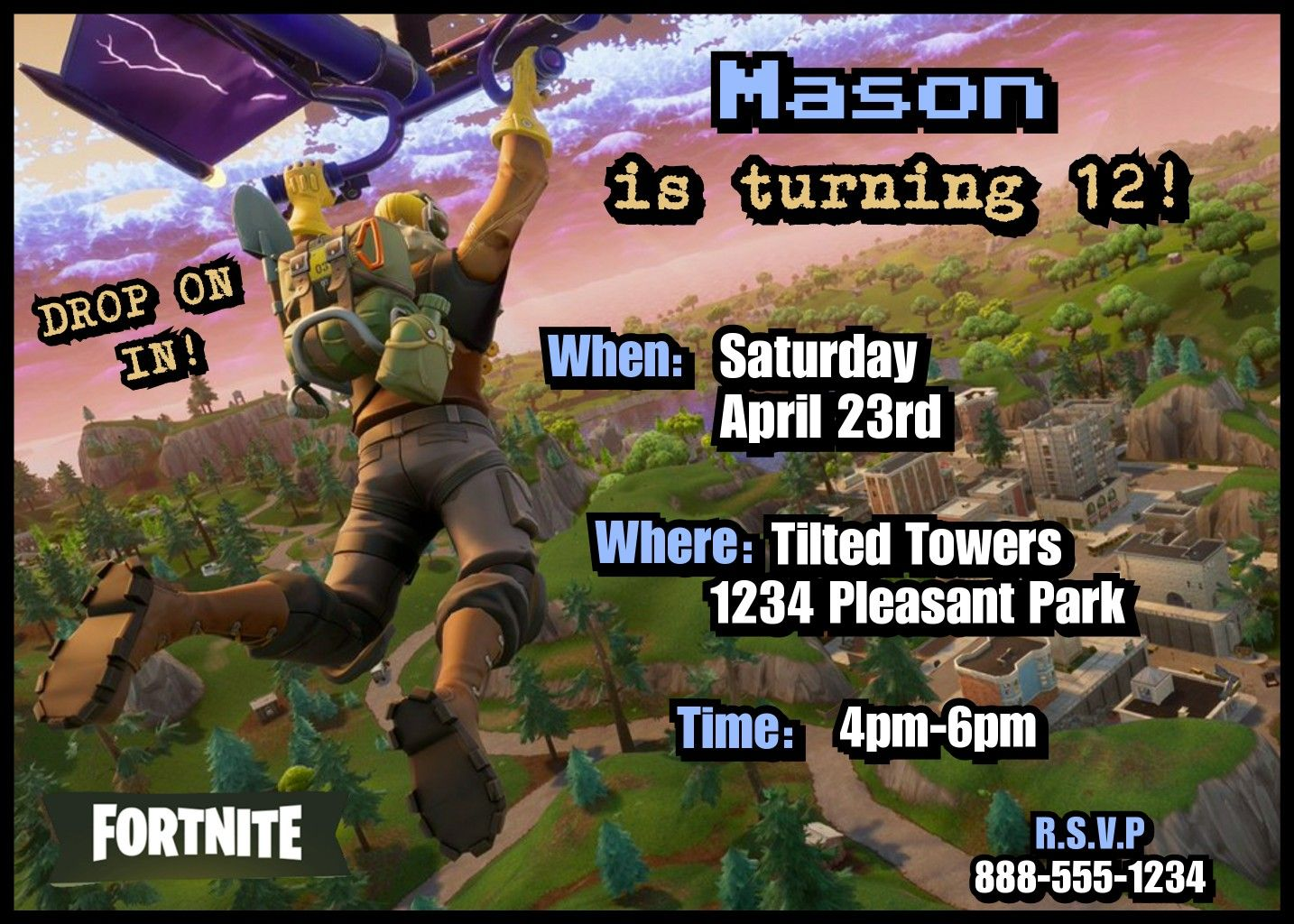 Fortnite Party Invitations!