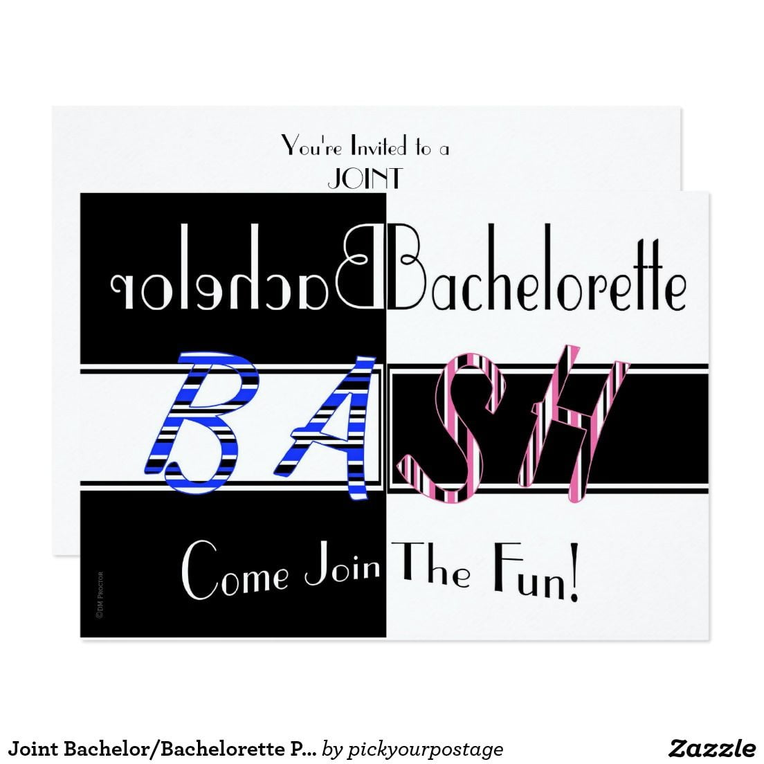 Joint Bachelor Bachelorette Party Bash Invitation