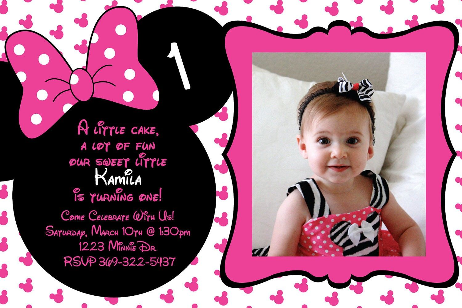 Decaeaffc Lovely Minnie Mouse 1st Birthday Invitations Free