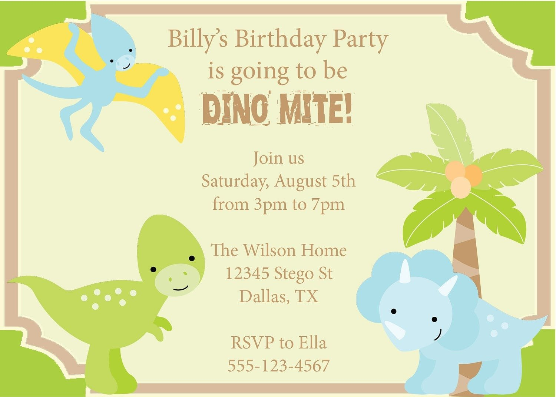 Dinosaur Birthday Party Invitations Printable Free Printable