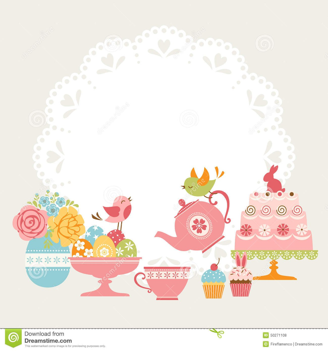 Easter Tea Party Stock Vector  Illustration Of Eggs, Cute
