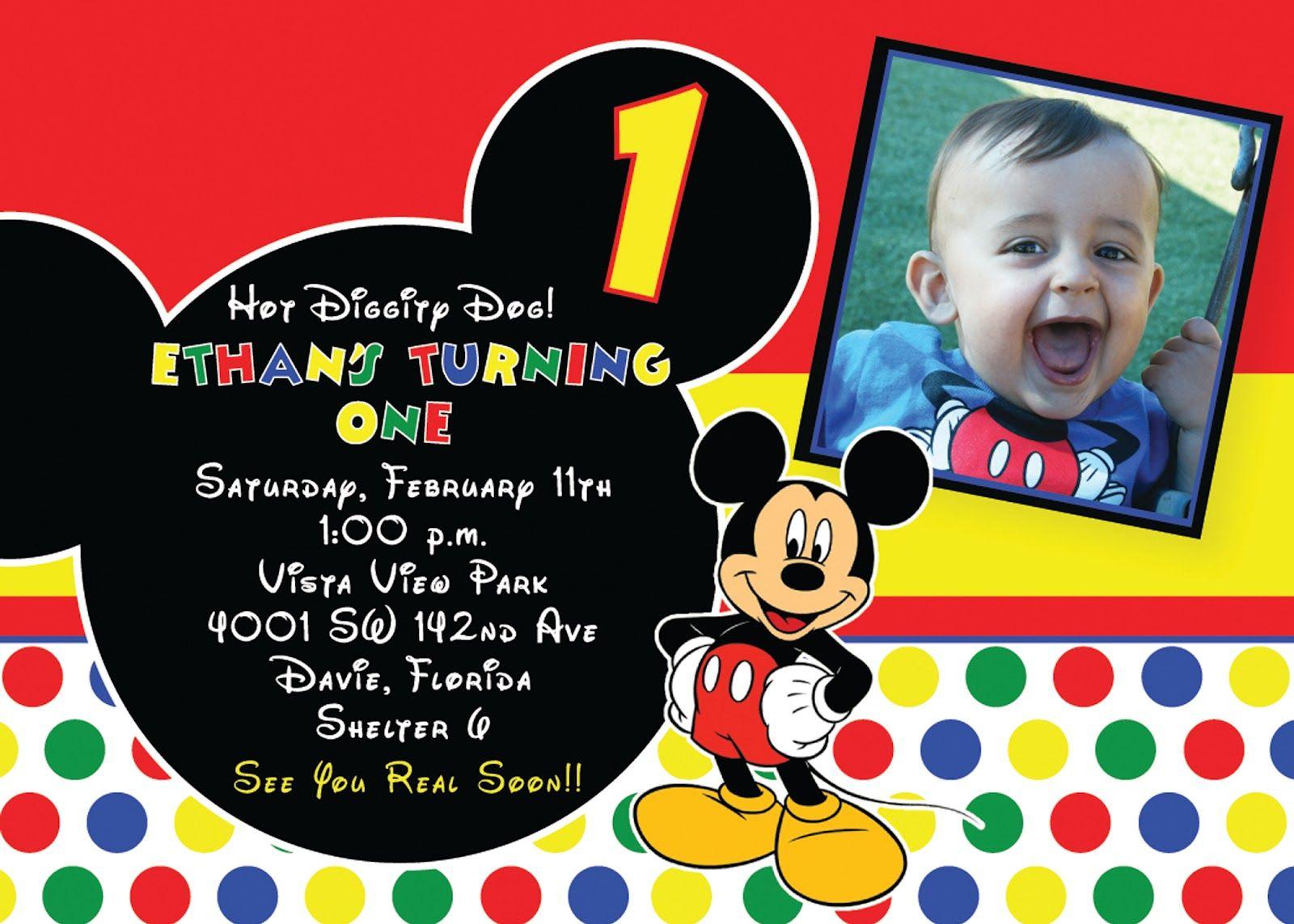 Ecfffcbabdedbc Epic Mickey Mouse 1st Birthday Invitations