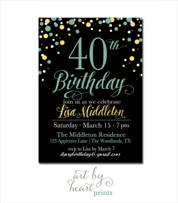 Free 40th Birthday Party Invitation Templates Trend With Free 40th