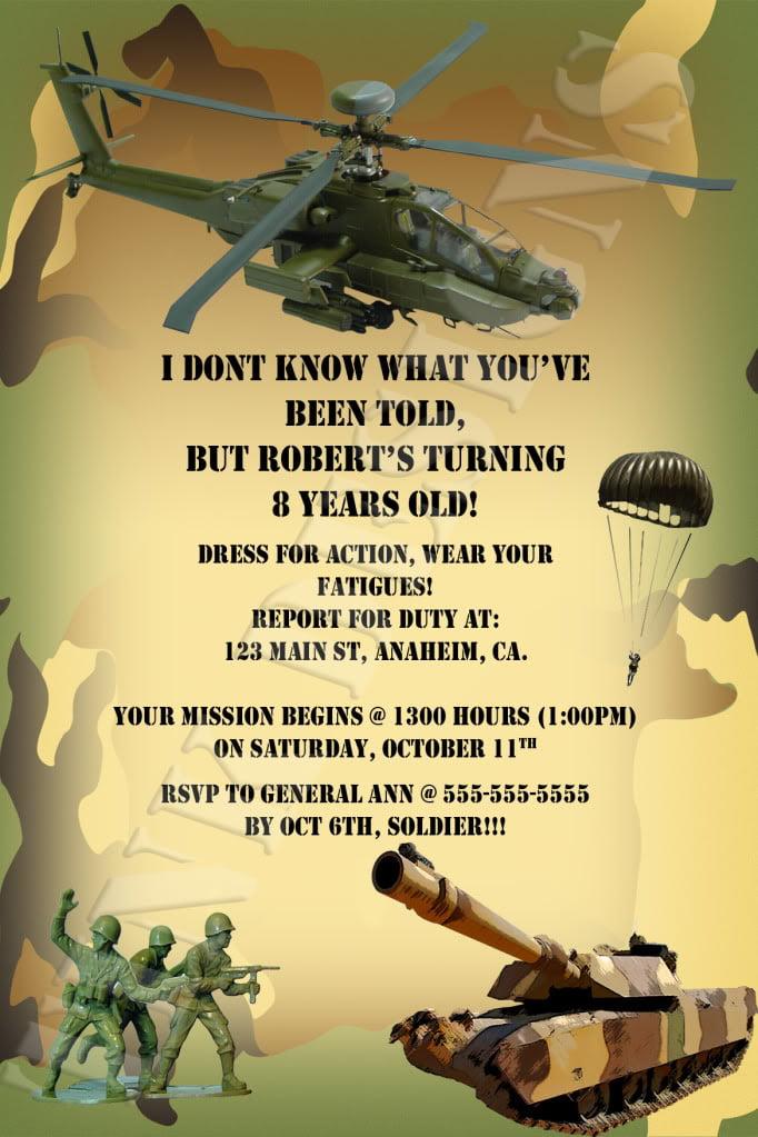 Army Birthday Invitations Free Printable New Army Birthday