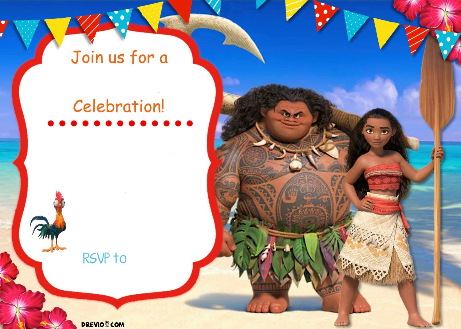 Free Moana Birthday Invitation Template