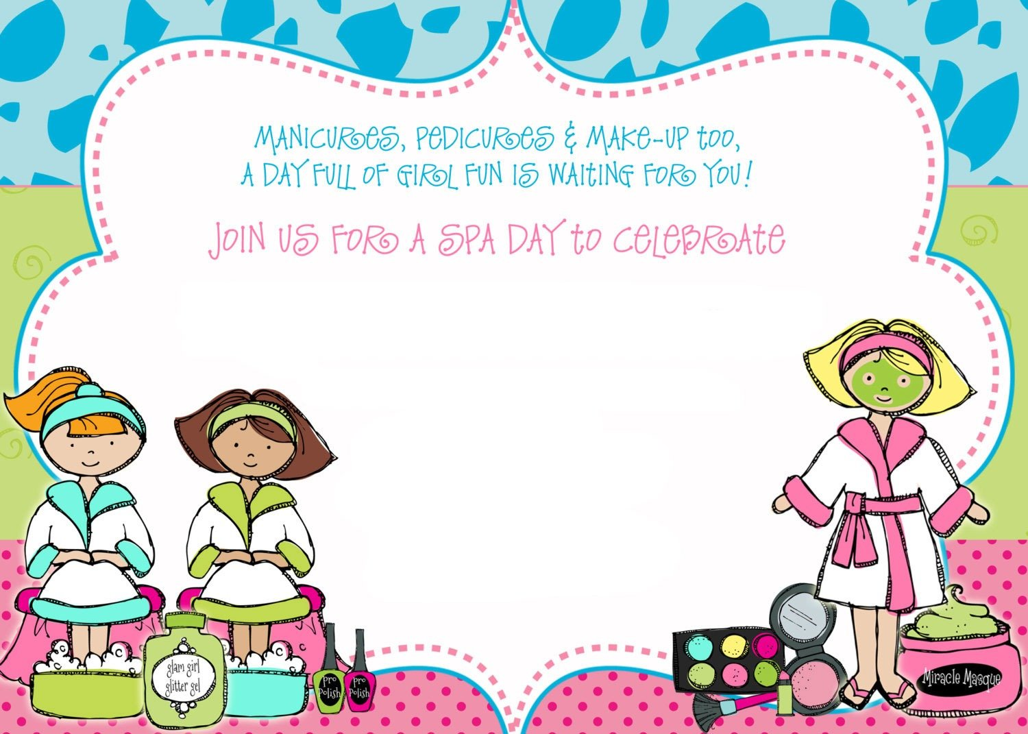 Free Printable Spa Party Invitations Templates Fabulous With Free