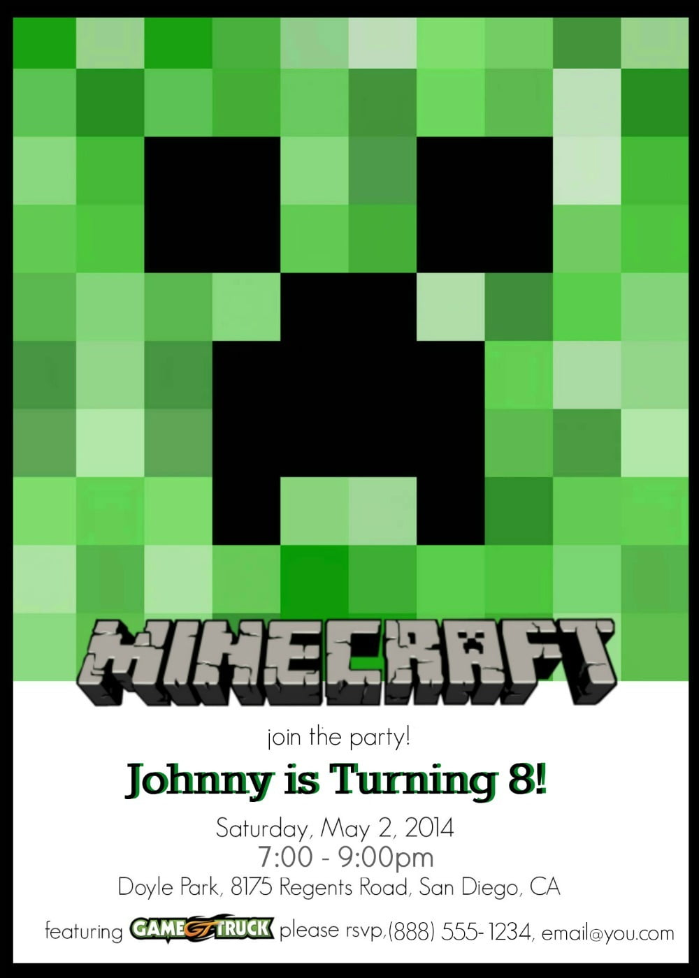 Fresh Free Printable Minecraft Birthday Party Invitations