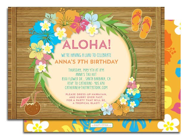Hawaiian Party Invitations With A Combination Of Style Party