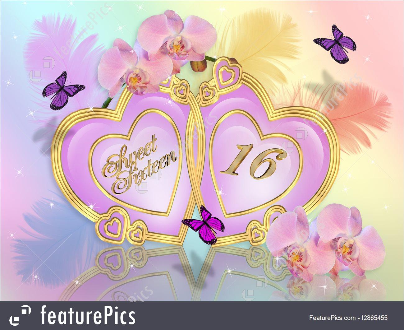 Illustration Of Sweet 16 Invitation Card