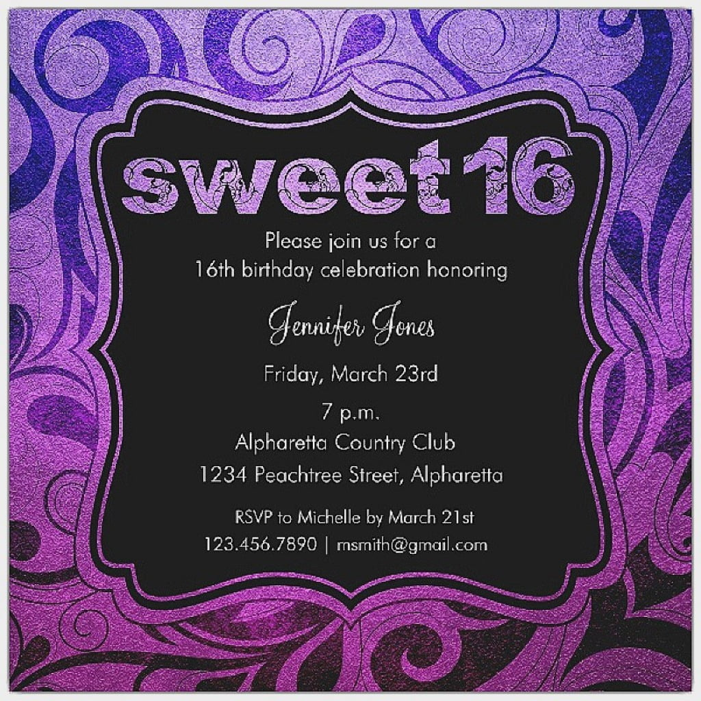 Invitation  Sweet 16 Invitation Template