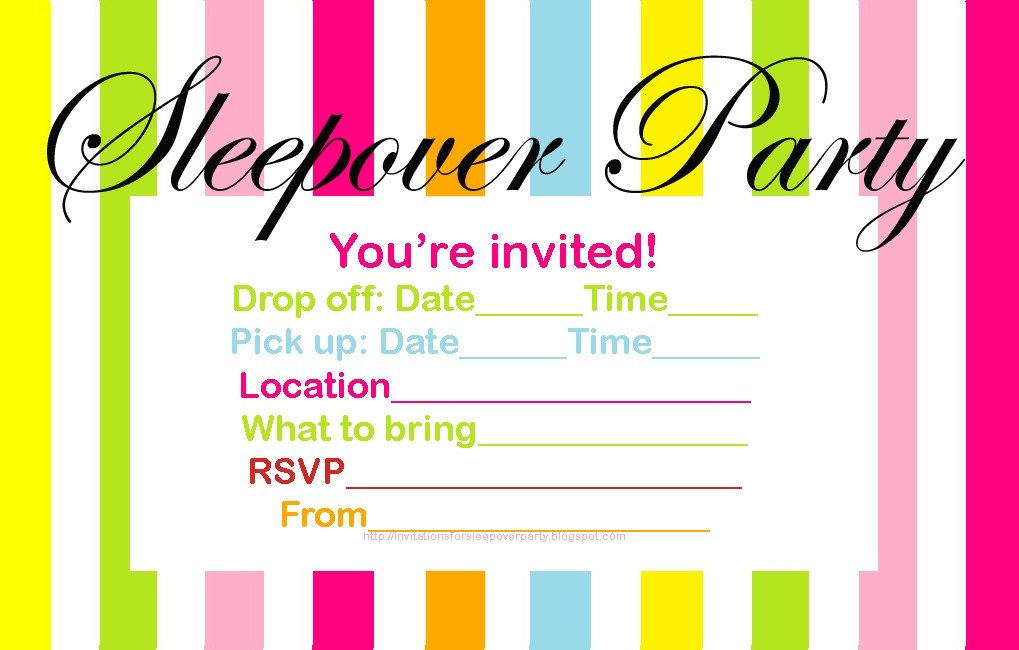 Sleepover Invites