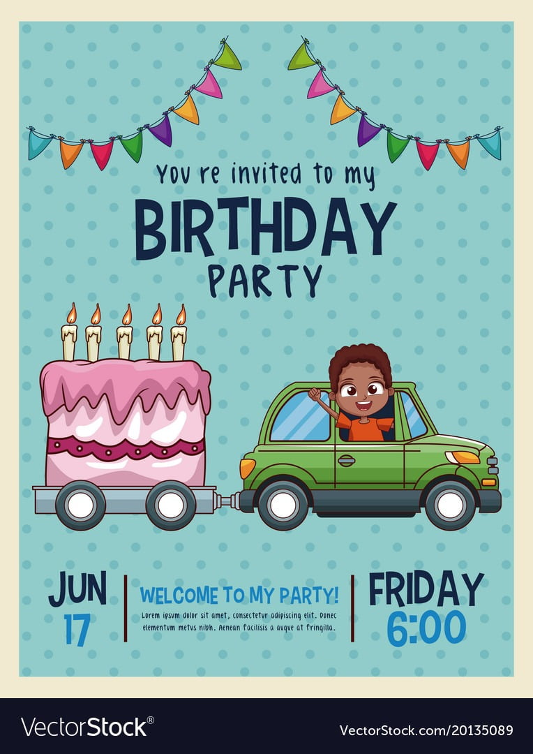 Kids Birthday Invitation Card Royalty Free Vector Image