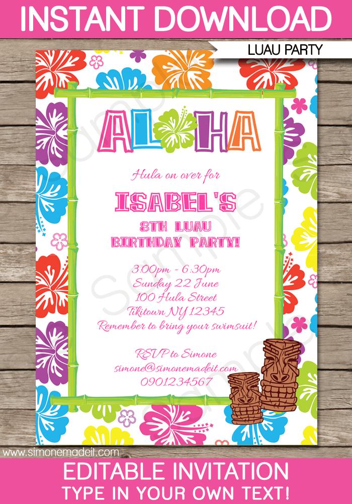 Invitation  Luau Birthday Party Invitation