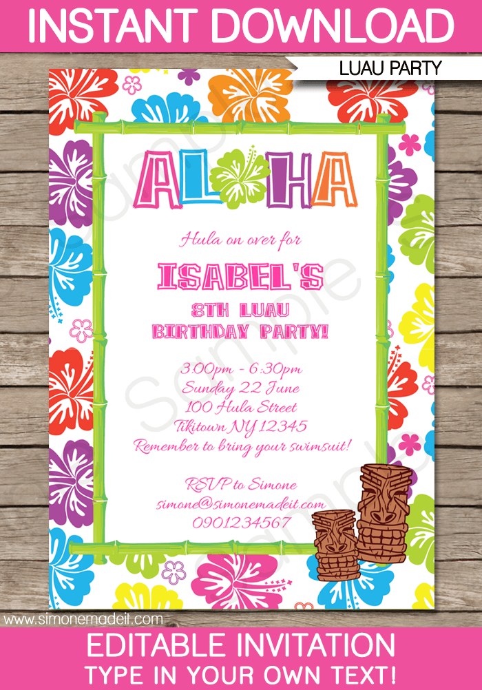 Luau Party Invitation Template Free Ideal With Luau Party