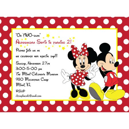 Mickey And Minnie Birthday Invitations With Some Beautification