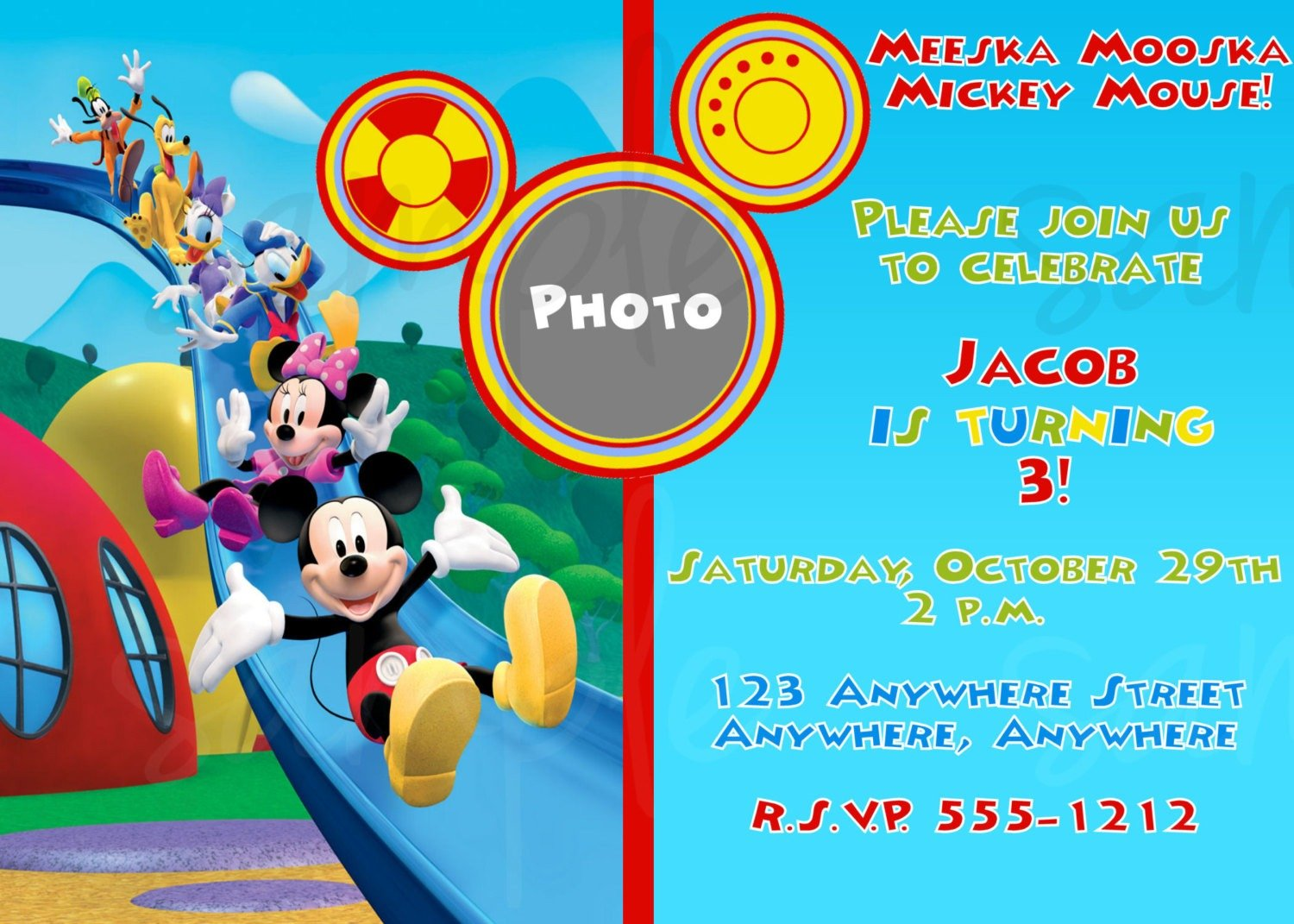 Mickey Mouse Clubhouse Invitation Template Free Great Mickey Mouse