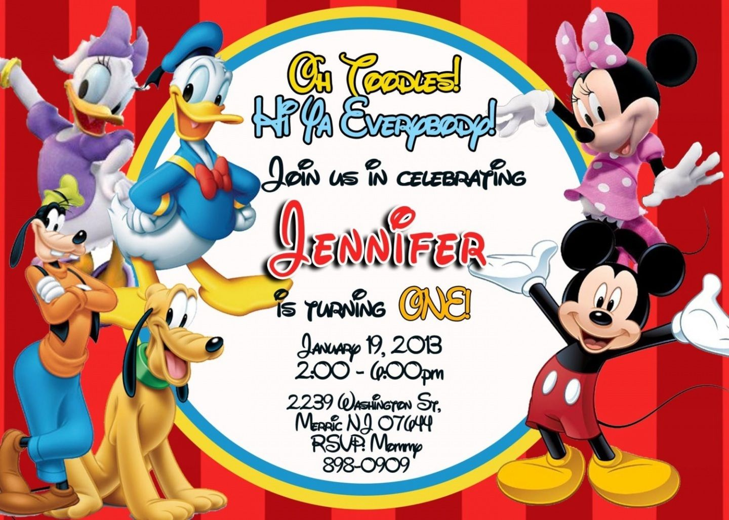 Mickey Mouse Clubhouse Invitation Template Free Trend With Mickey