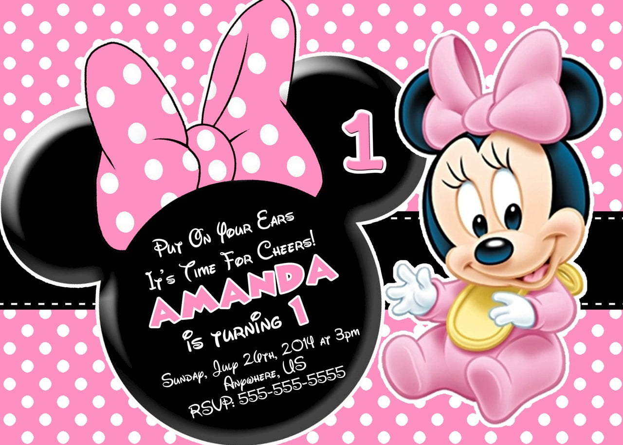 Minnie Mouse Invitations For 1st Birthday — Birthday Invitation