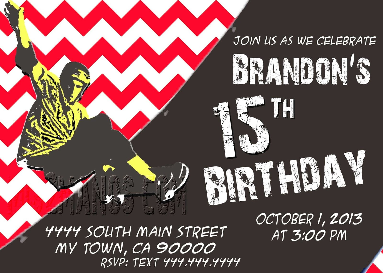 Teen Boy S Birthday Invitation Red Chalk Lettering Cards For Teen