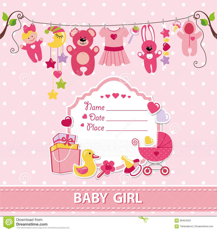 New Born Baby Girl Card Shower Invitation Template Stock Vector