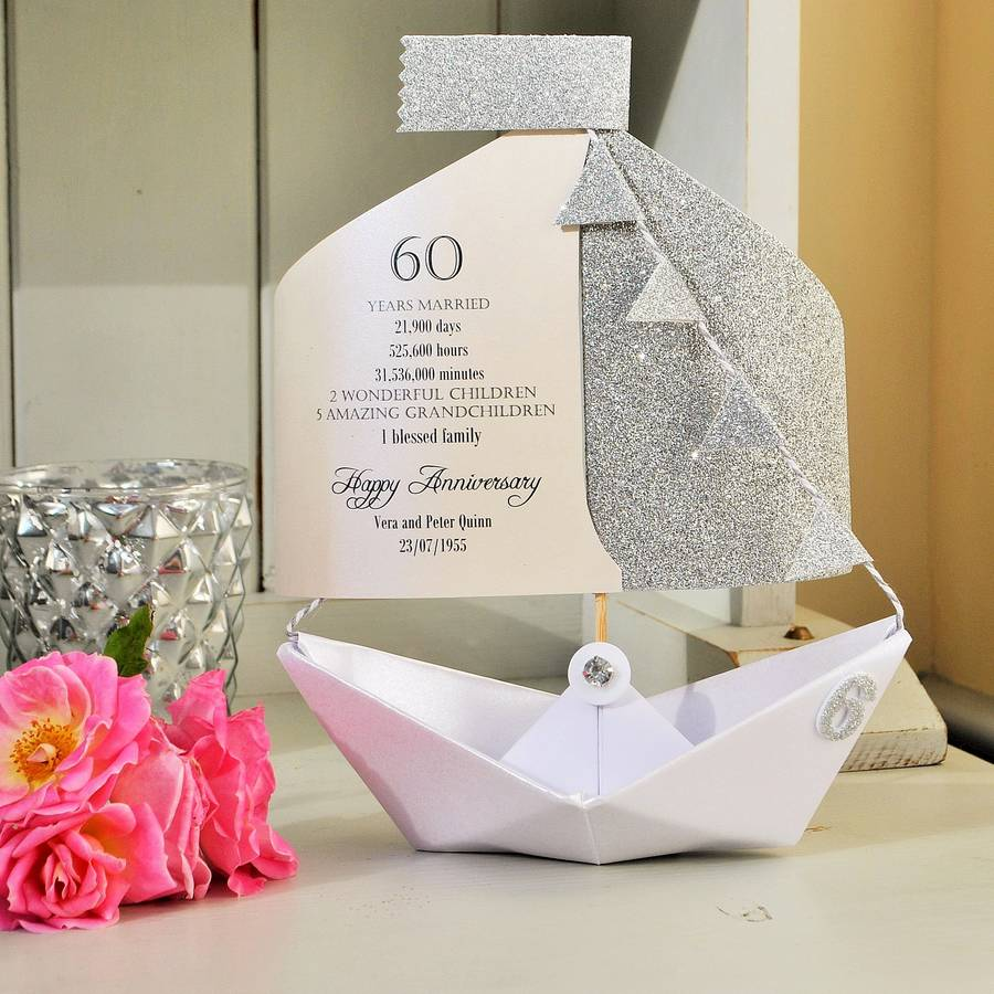 60th Diamond Wedding Anniversary Paper Boat Card By The Little