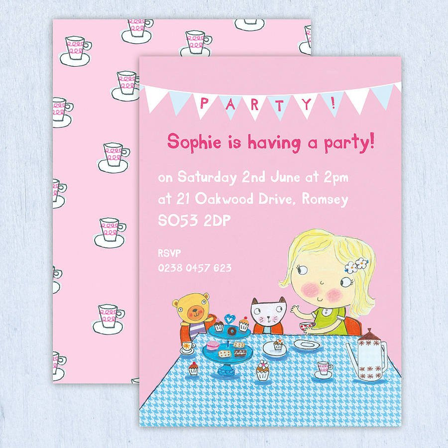 Personalised Girls Tea Party Invitations By Made By Ellis