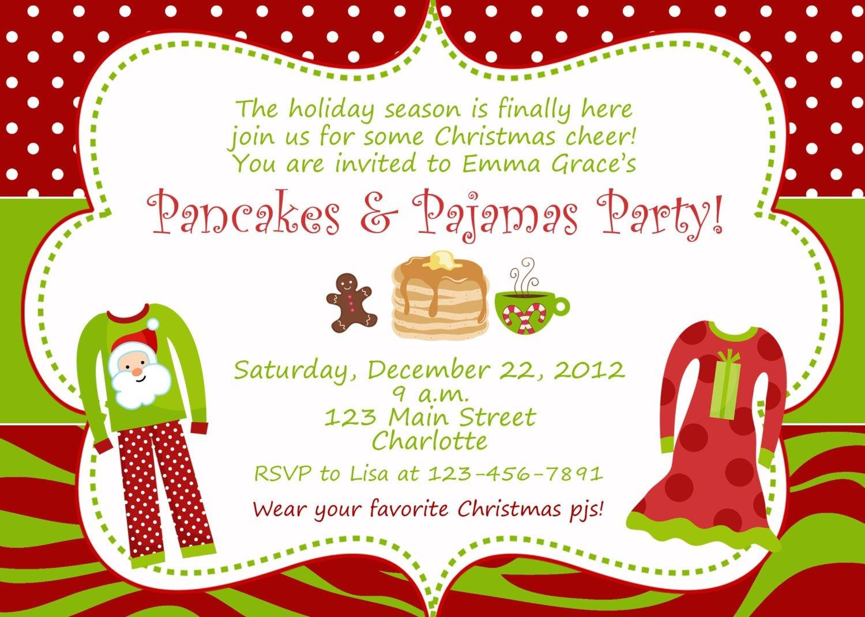 Christmas Sleepover Party Invitations Pajama Flyer New Slumber