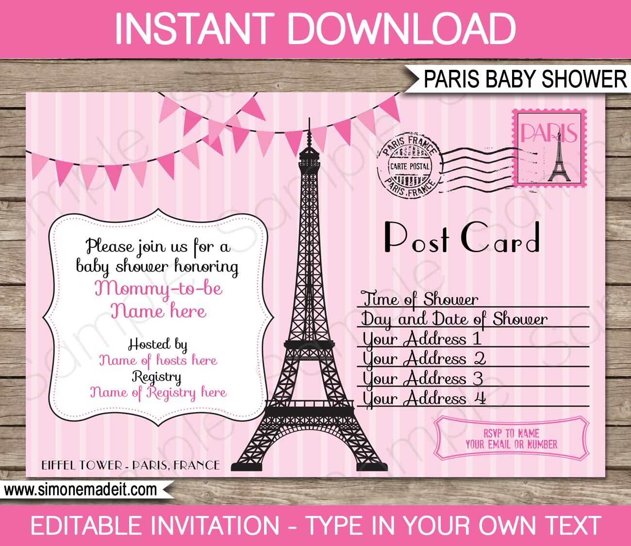 Paris Baby Shower Invitations