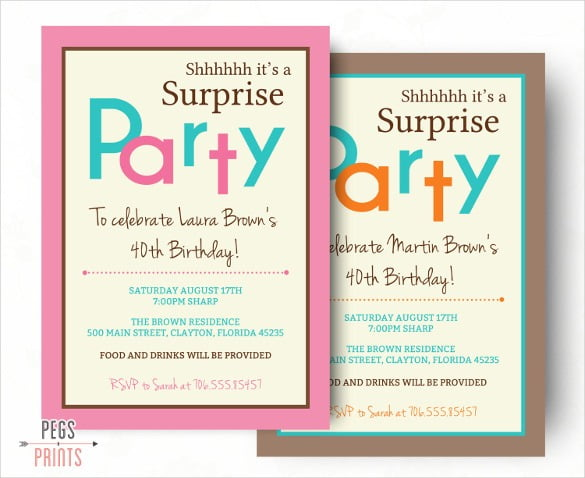 Surprise Birthday Party Invitation Templates