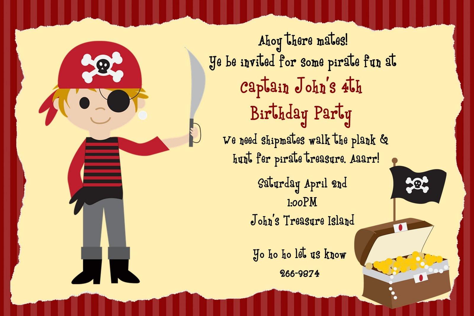 Pirate Birthday Invitations Pirate Birthday Invitations A Beauty
