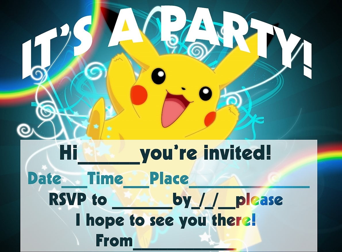 Printable Pokemon Birthday Invitations Dreaded Invitation Free