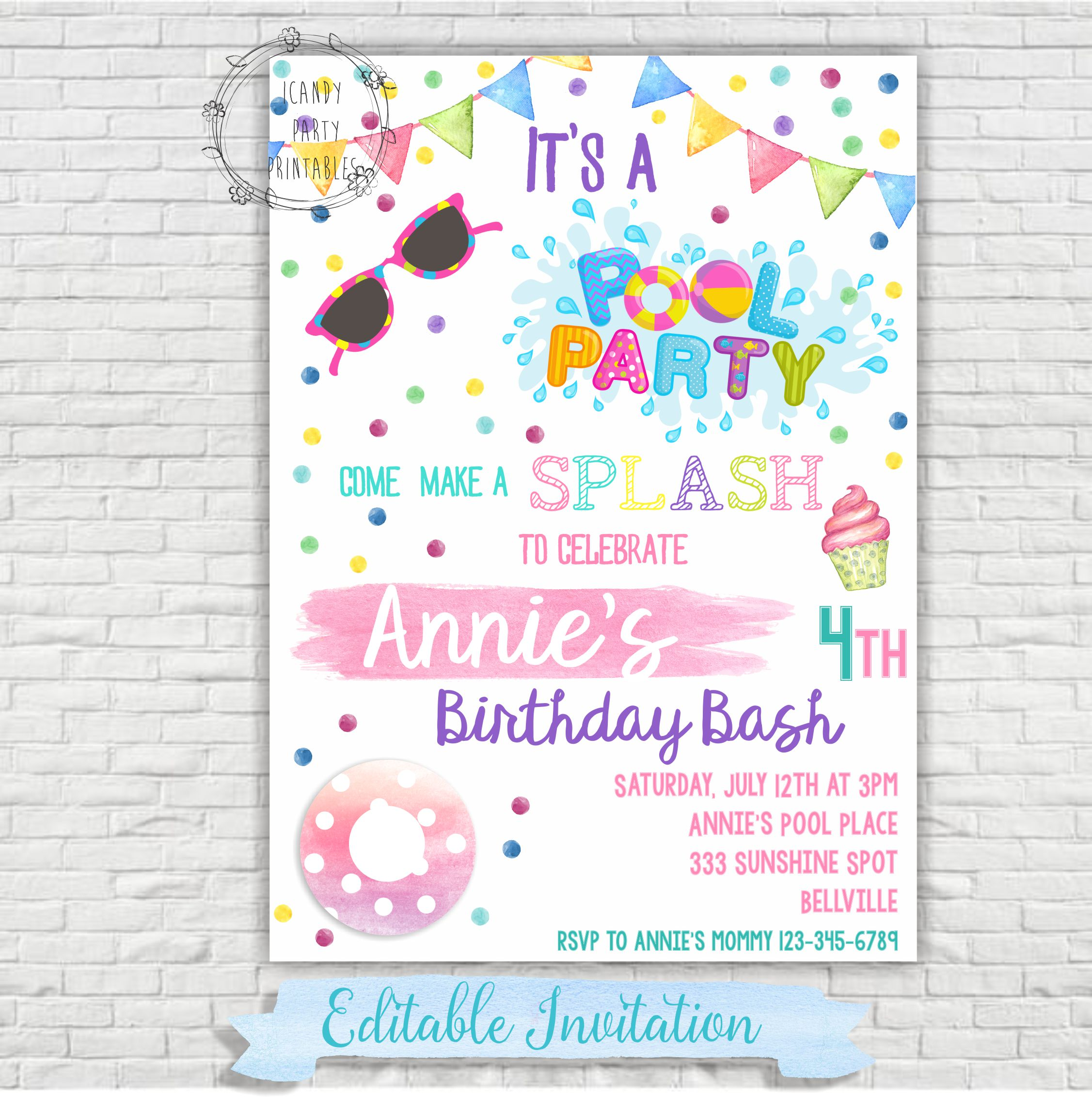 Pool Party Invitation Swimming Great Pool Birthday Party