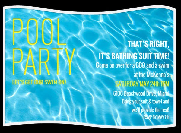 Pool Party Invitation Template Free Ideal Swimming Party