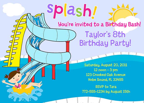 Poolpartywaterslideinvite Marvelous Pool Birthday Party