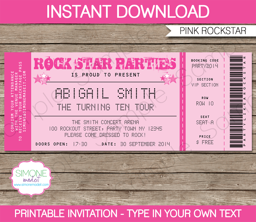 Carnival Ticket Invitation Template Editable And Printable Pink