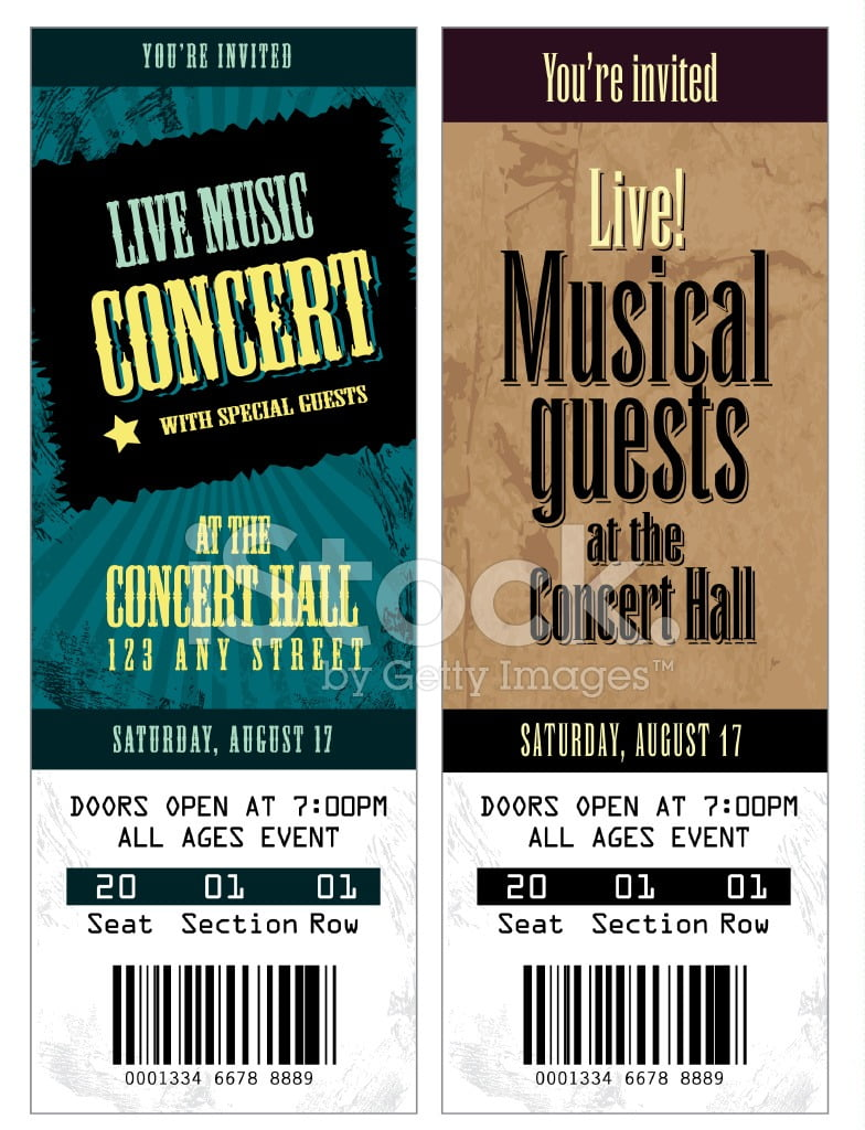 Set Of Cool Concert Tickets Template Stock Vector Freeimages Com