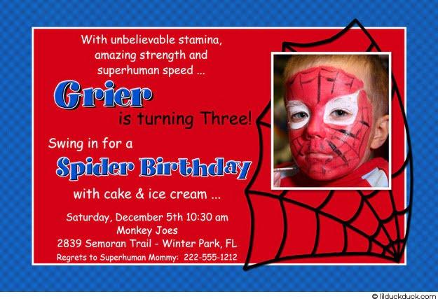 Spiderman Birthday Invitation Wording Spiderman Blue Red 1 Photo