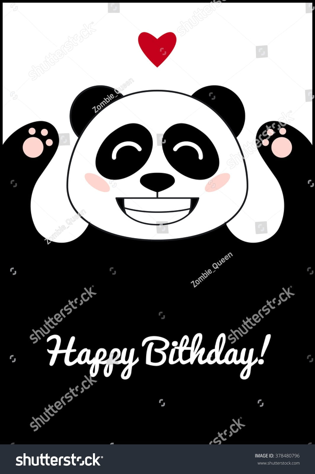 Panda Love Birthday Card Template Cute Stock Vector (royalty Free