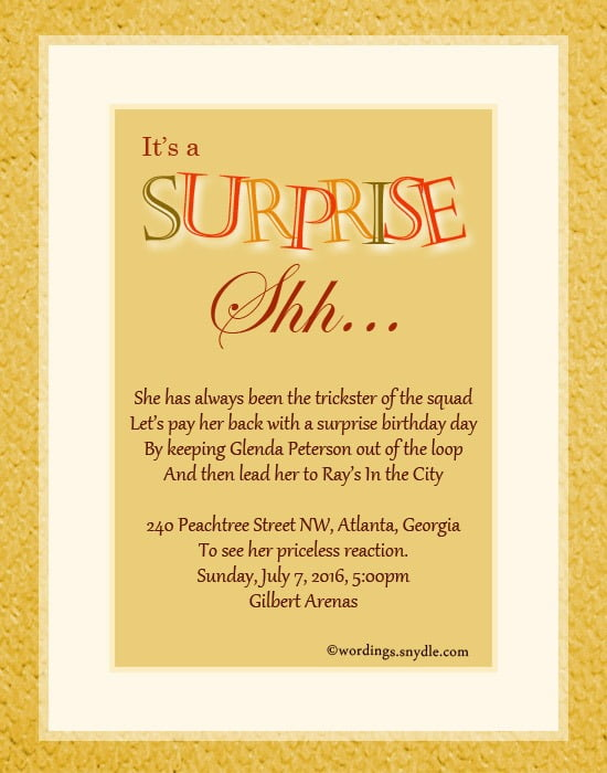 Invitation Template  How To Write A Surprise Birthday Party