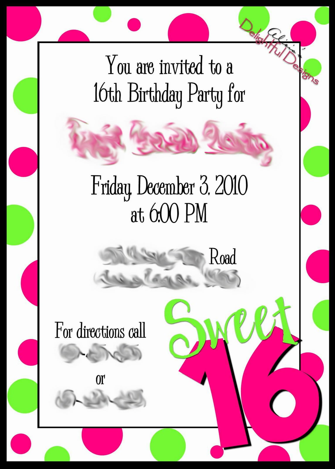Sweet Sixteen Invitation Templates